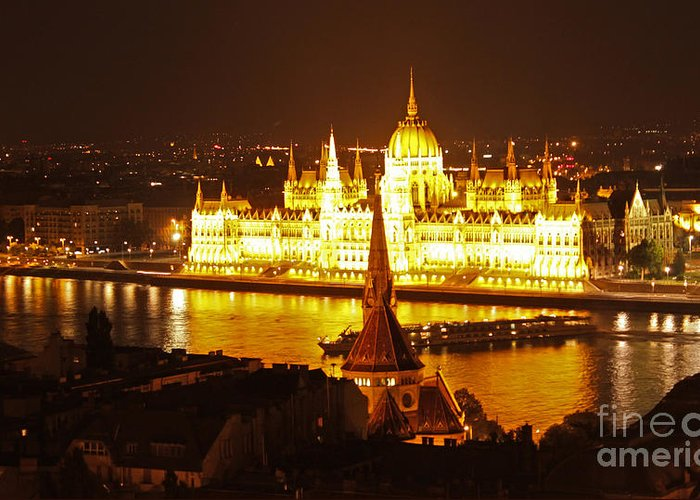 Budapest Greeting Card featuring the photograph Budapest At Night by Gregory Dyer
