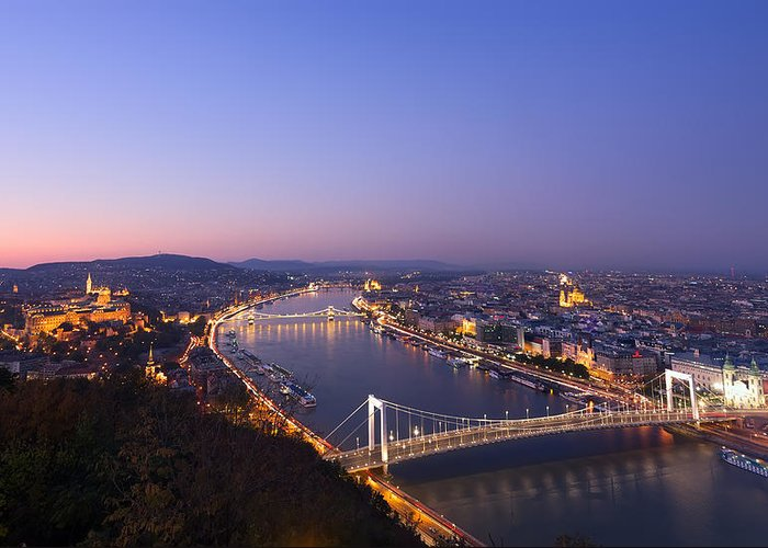 Aerial Greeting Card featuring the photograph Budapest At Night by Ioan Panaite