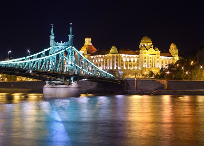 Architecture Greeting Card featuring the photograph Budapest Night Bridge by Ioan Panaite