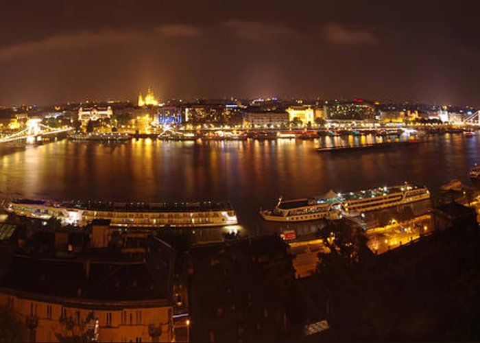 Architecture Greeting Card featuring the photograph Budapest Night Panorama by Ioan Panaite