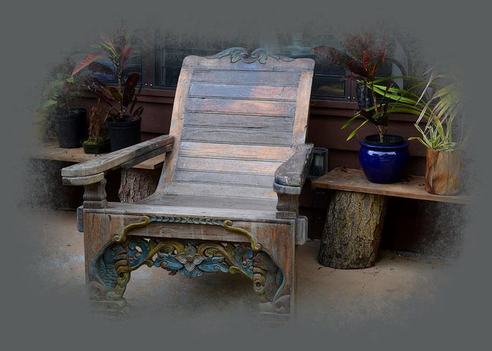 Chair Greeting Card featuring the photograph Buddah's Cup Adirondack by Lori Seaman