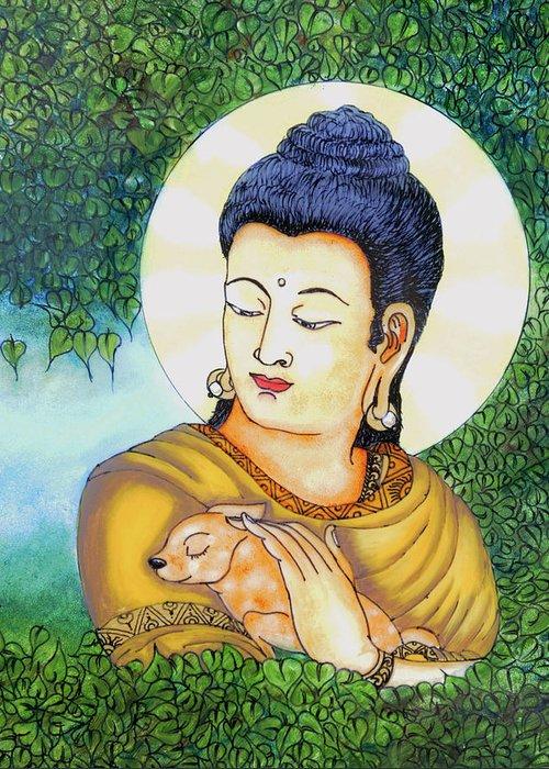 Buddha Greeting Card featuring the glass art Buddha Green by Loganathan E