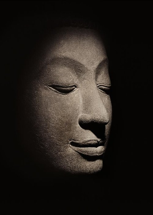 Buddha Greeting Card featuring the photograph Buddha Head From The Early Ayutthaya Period by Siamese School