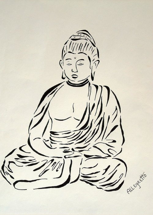Pamela Allegretto Franz Greeting Card featuring the painting Buddha In Black And White by Pamela Allegretto