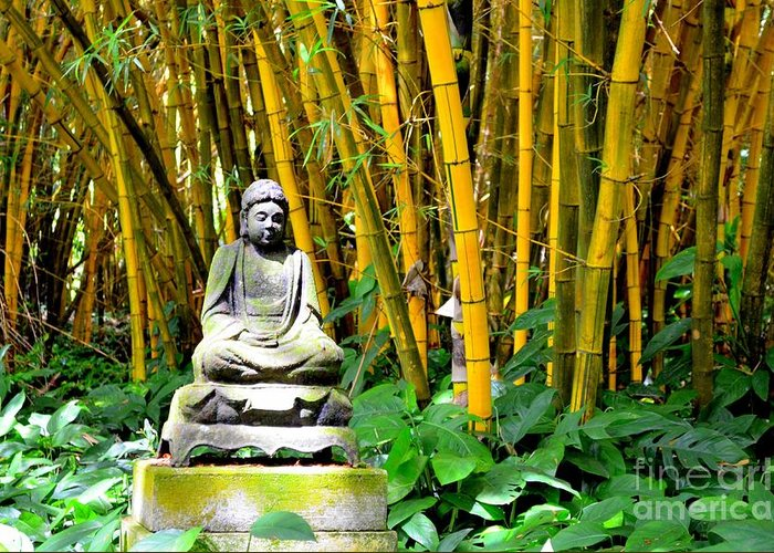 Buddha Greeting Card featuring the photograph Buddha In The Bamboo Forest by Mary Deal