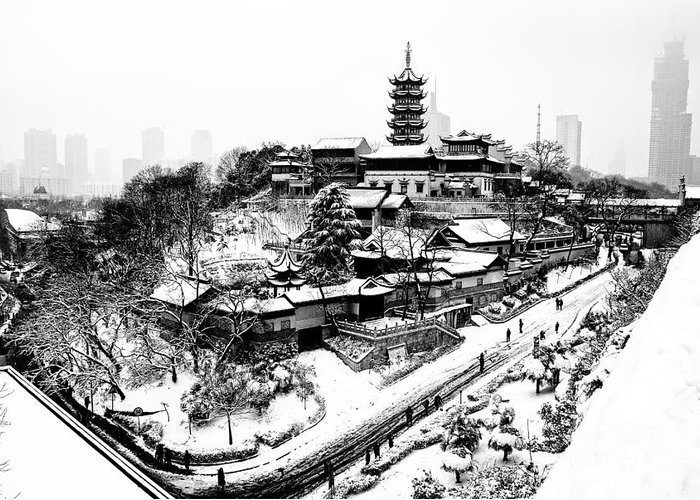 China Greeting Card featuring the photograph Buddha - Jiming Temple In The Snow - Black-and-white Version by Dean Harte