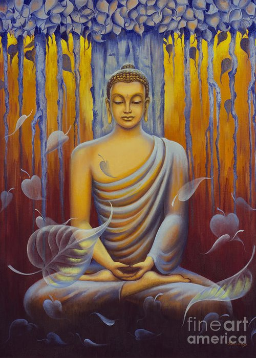 Buddha Greeting Card featuring the painting Buddha Meditation by Yuliya Glavnaya