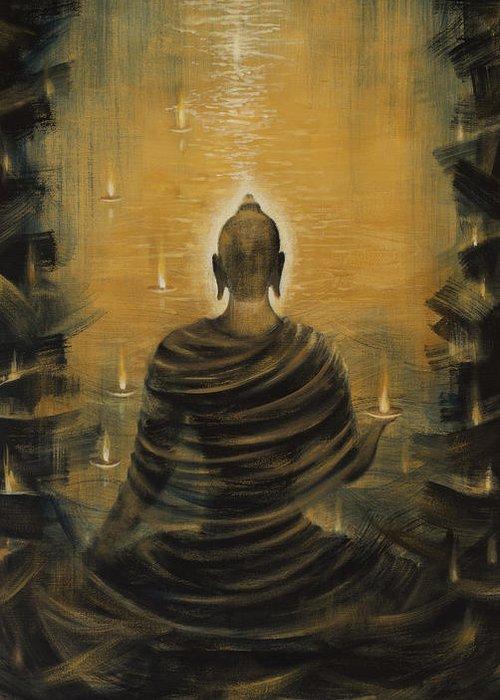 Buddha Greeting Card featuring the painting Buddha. Nirvana Ocean by Vrindavan Das