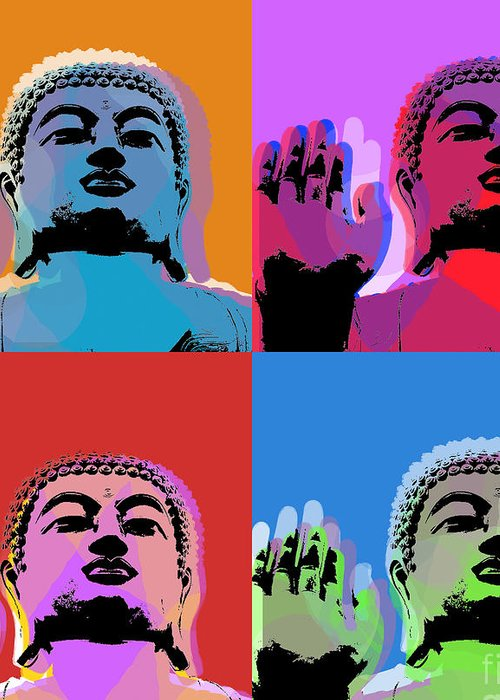 Buddha Greeting Card featuring the digital art Buddha Pop Art - 4 Panels by Jean luc Comperat