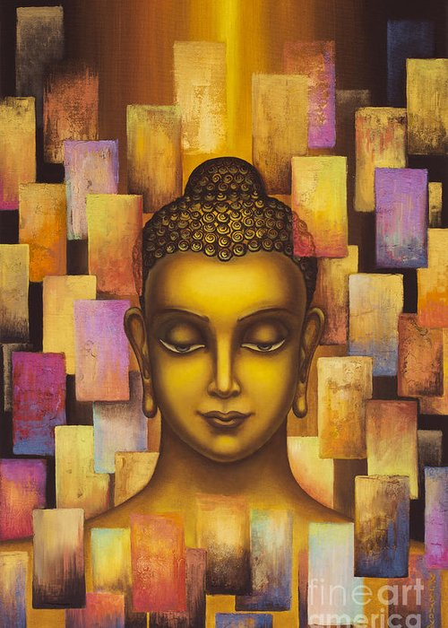 Buddha Greeting Card featuring the painting Buddha. Rainbow Body by Yuliya Glavnaya