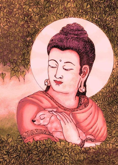 Buddha Greeting Card featuring the glass art Buddha Red by Loganathan E