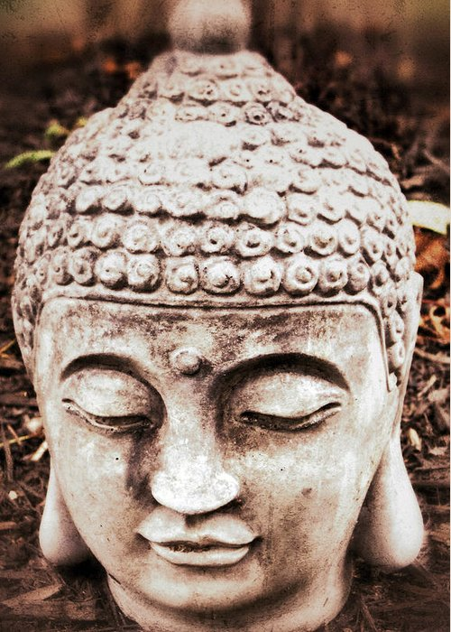 Buddha Greeting Card featuring the photograph Buddha - Serenity by Patricia Januszkiewicz
