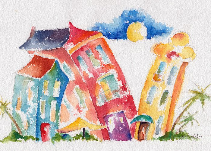 Buildings Greeting Card featuring the painting Buddy Buildings by Pat Katz