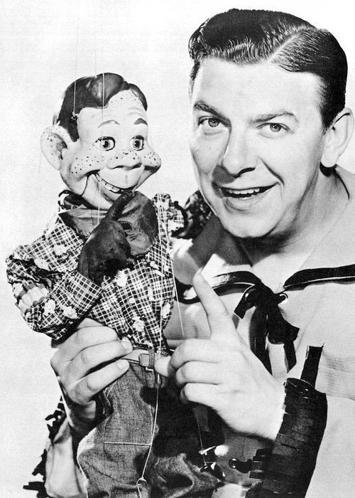 1940's Greeting Card featuring the photograph Buffalo Bob And Howdy Doody by Underwood Archives