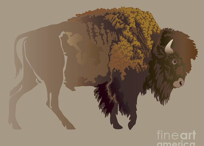 Game Greeting Card featuring the digital art Buffalo. Hand-drawn Illustration by Imagewriter
