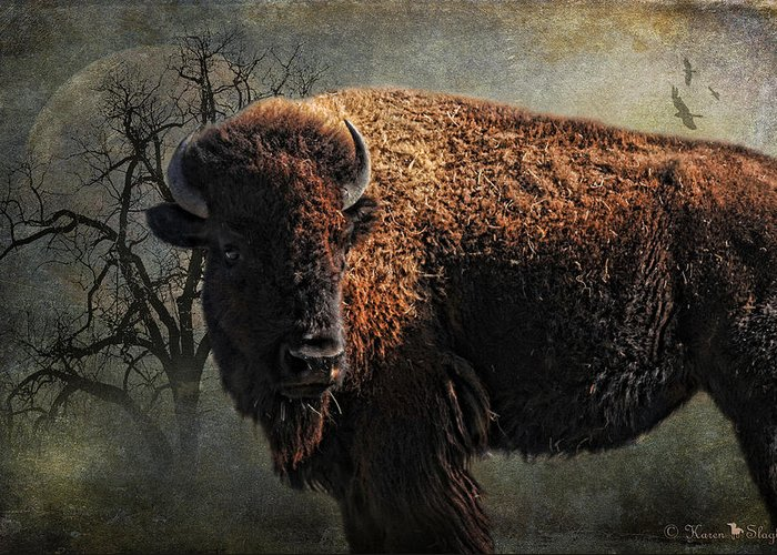Buffalo Greeting Card featuring the photograph Buffalo Moon by Karen Slagle