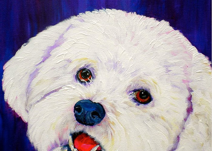 Bichon Frise Dogs Greeting Card featuring the painting Buffy by Debi Starr