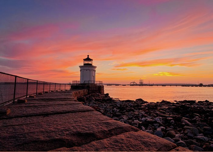 Built Structure Greeting Card featuring the photograph Bug Light Sunrise 1899 by Www.cfwphotography.com