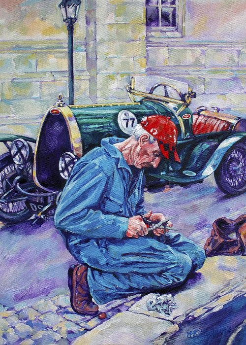 Angouleme Greeting Card featuring the painting Bugatti-angouleme France by Derrick Higgins