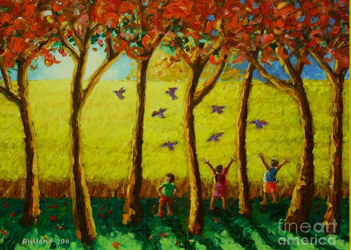 Rice Fields Greeting Card featuring the painting Bugaw by Paul Hilario