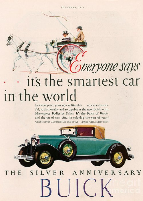 Adverts Greeting Card featuring the drawing Buick 1928 1920s Usa Cc Cars Horses by The Advertising Archives
