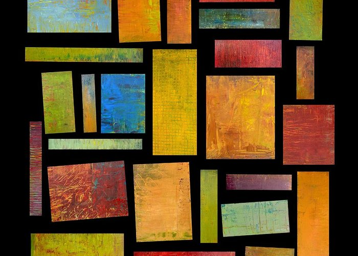 Textural Greeting Card featuring the painting Building Blocks Four by Michelle Calkins