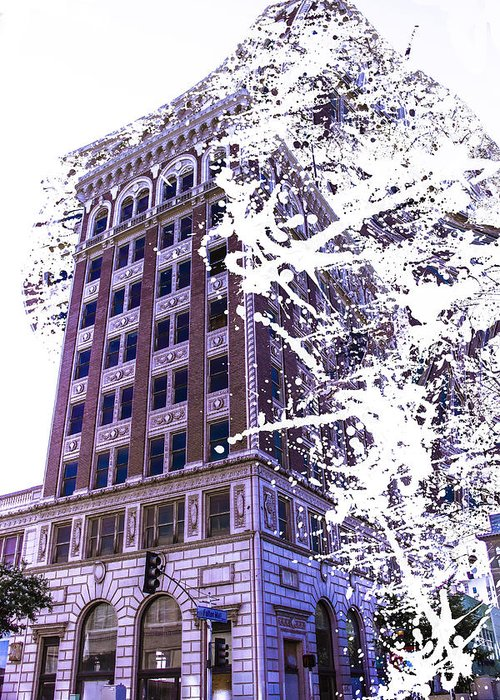 Greeting Card featuring the photograph Building Splatter by Cj Avery