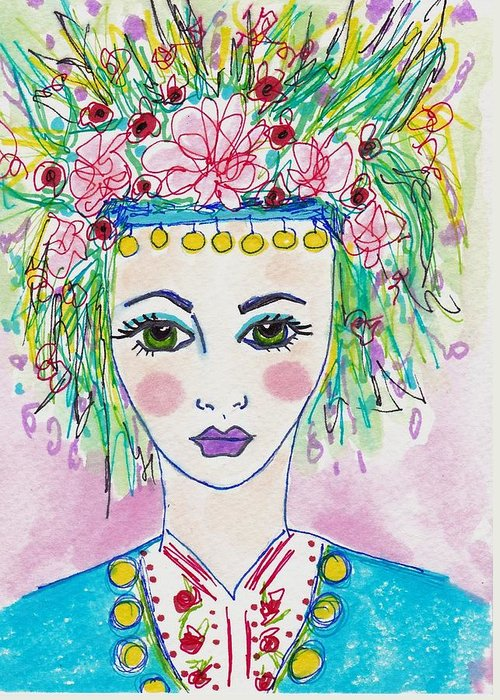 Bulgarian Folk Girl Greeting Card featuring the painting Bulgarian Follk Girl Art by Rosalina Bojadschijew