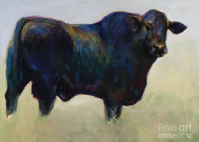 Black Angus Greeting Card featuring the painting Bull by Frances Marino