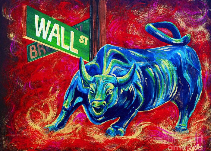 Wall Street Greeting Card featuring the painting Bull Market by Teshia Art