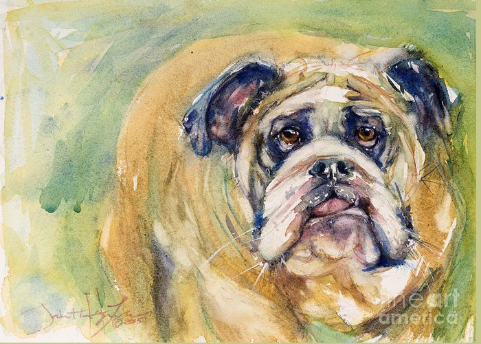 Dog Greeting Card featuring the painting Bulldog by Judith Levins