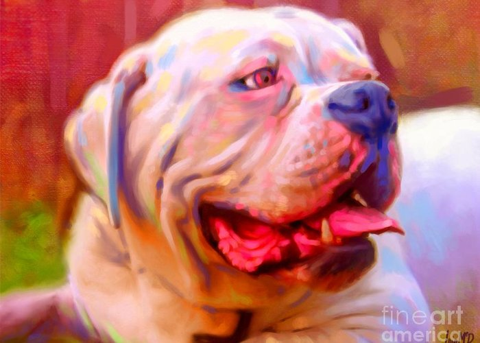 Dog Paintings Greeting Card featuring the painting Bulldog Portrait by Iain McDonald