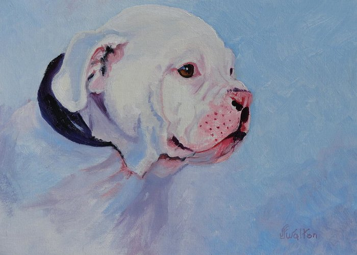 Dog Greeting Card featuring the painting Bulldog Pup by Judy Fischer Walton