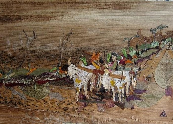 Village Scene Greeting Card featuring the mixed media Bullock Cart On Cross Country Road by Basant Soni