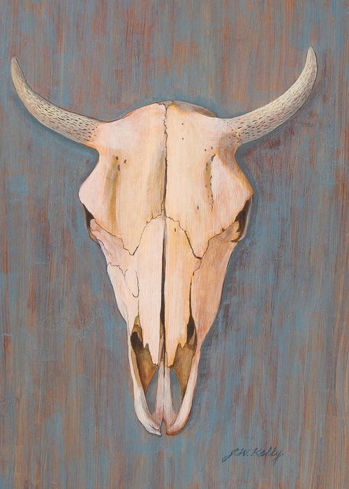 Horned Bull Skull Greeting Card featuring the painting Bullskull no.3 by J W Kelly