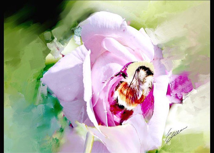 Rose Bumble Bee Greeting Card featuring the digital art Bumble Bee On Rose by Elaine Weiss