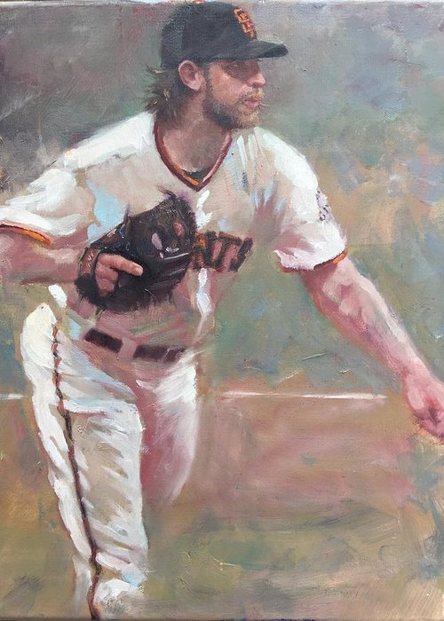 Madison Bumgarner Painting Sf Giants Baseball Artwork Greeting Card featuring the painting Bumgarner 2014 NLCS by Darren Kerr