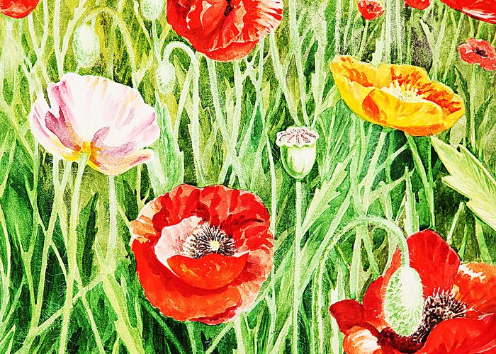 Poppies Greeting Card featuring the painting Bunch Of Poppies II by Irina Sztukowski