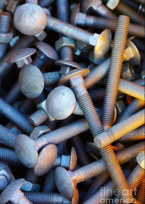 Aluminium Greeting Card featuring the photograph Bunch Of Screws by Carlos Caetano