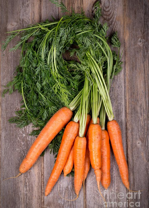 Agriculture Greeting Card featuring the photograph Bunched Carrots by Jane Rix
