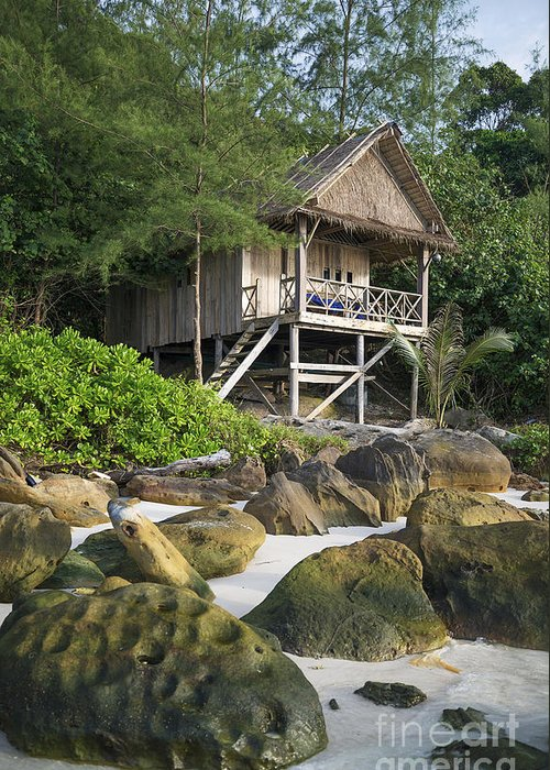 Accomodation Greeting Card featuring the photograph Bungalow In Koh Rong Island Beach In Cambodia by Jacek Malipan