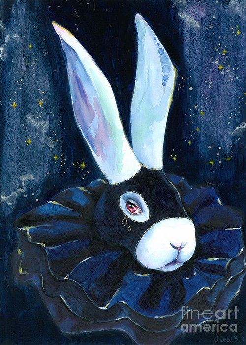 Bunny Greeting Card featuring the painting Bunny Blues by Miss M von Baron