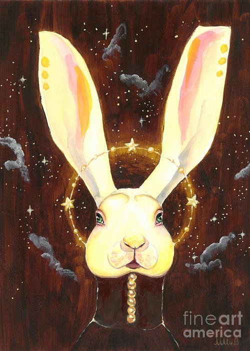 Bunny Greeting Card featuring the painting Bunny Yolo by Miss M von Baron