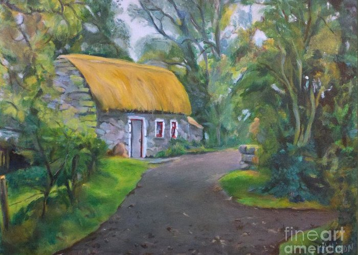 Scenic Greeting Card featuring the painting Bunratty Cottage by Stephanie Allison