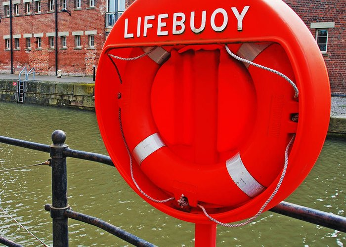 Safety Greeting Card featuring the photograph Buoy Foam Lifesaving Ring by Luis Alvarenga