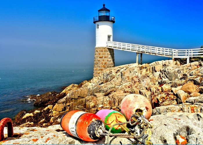 Robinson Point Lighthouse Greeting Card featuring the photograph Buoys At The Headlight by Adam Jewell