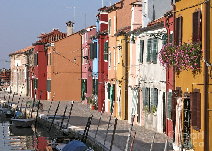 Multi Coloured Greeting Card featuring the photograph Burano Venice Italy by Liz Leyden