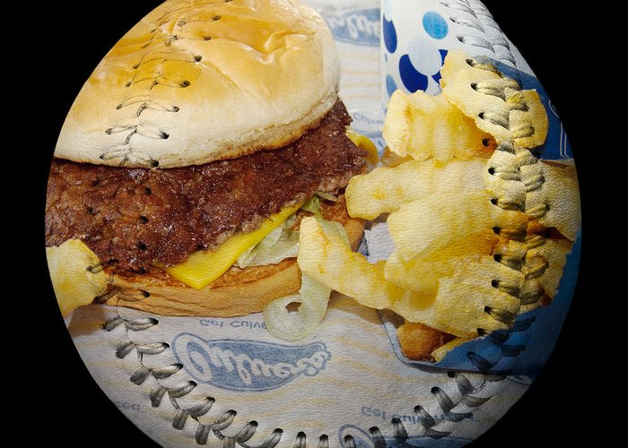 Baseball Greeting Card featuring the photograph Burger And Fries Baseball Square by Andee Design