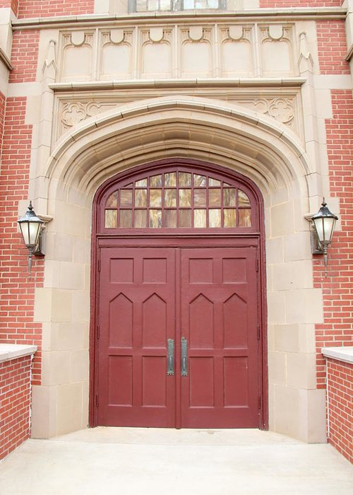 First Baptist Church Greeting Card featuring the photograph Burgundy Door by Debbie Duggar