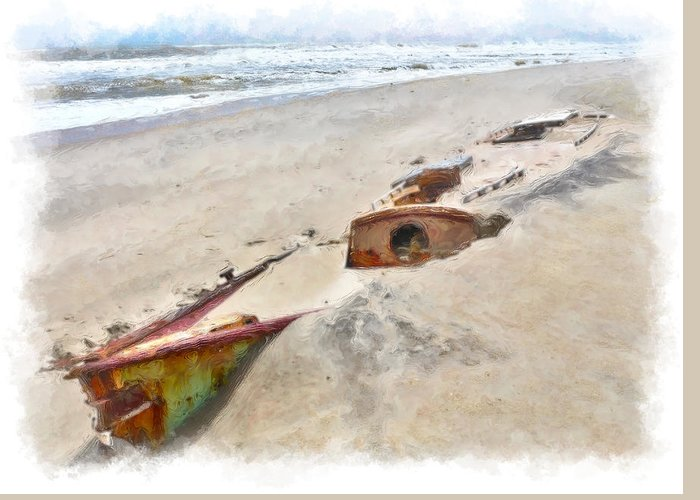 Outer Banks Greeting Card featuring the painting Buried Treasure - Shipwreck On The Outer Banks II by Dan Carmichael